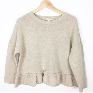 Manoush Anthropologie cream crop sweater XS